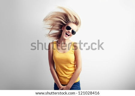 Casual girl having fun - stock photo