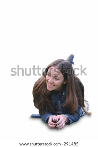 casual girl lying on the floor