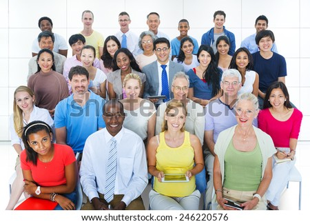 Casual Group Diverse People Social Convention Audience Concept - stock photo