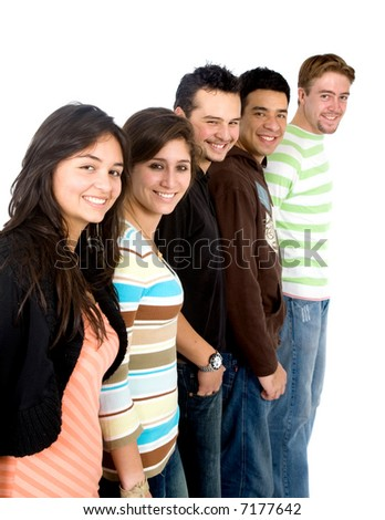 casual group of casual students smiling - isolated over a white background - stock photo