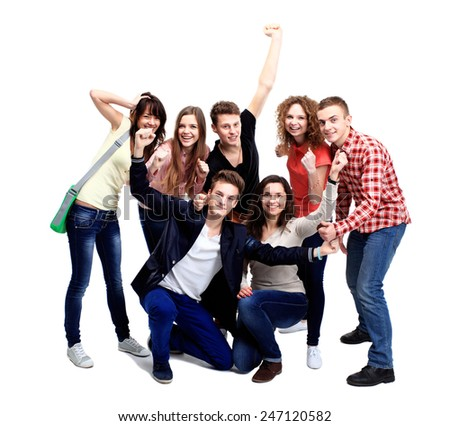 Casual group of excited friends isolated on white - stock photo