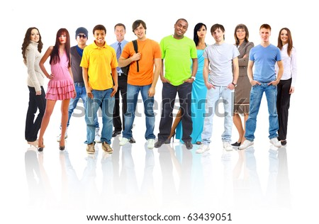 Casual group of excited friends with arms up isolated on white - stock photo