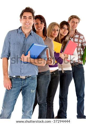 Casual group of happy students isolated over white