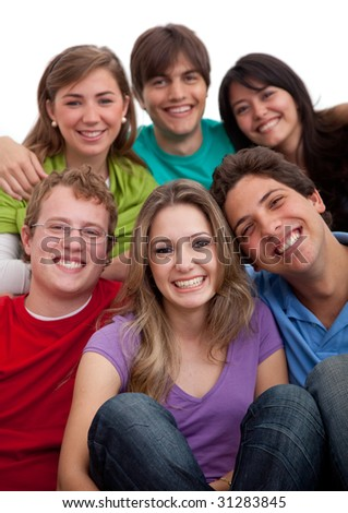 Casual group of people isolated over a white background