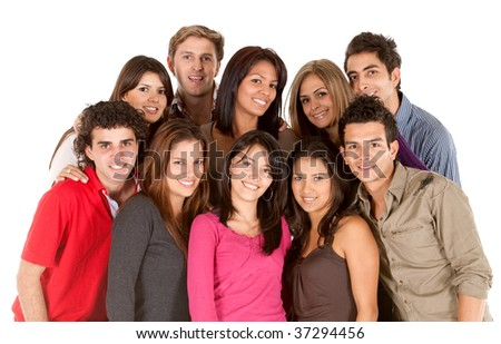 Casual group of young people isolated over white