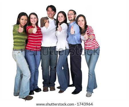 casual group - thumbs up - over white