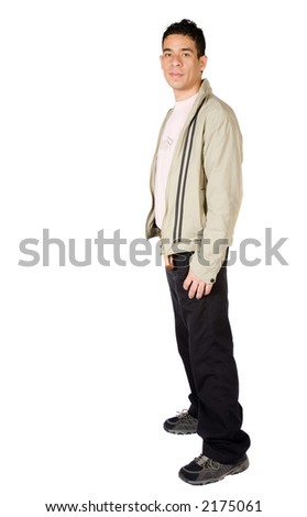 casual guy full body over a white background - stock photo