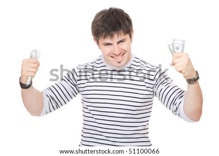 casual guy holding dollars bills in his hand isolated over white background