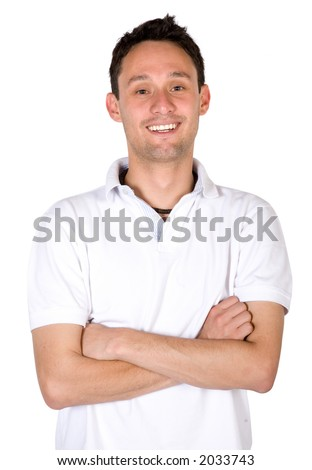 casual guy portrait over a white background