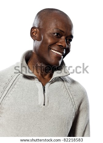 Casual handsome Afro American curiously looking at something and smiling on white background - stock photo