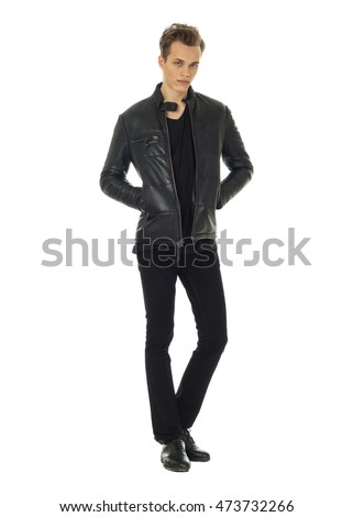 Casual handsome attractive man guy wearing leather jacket