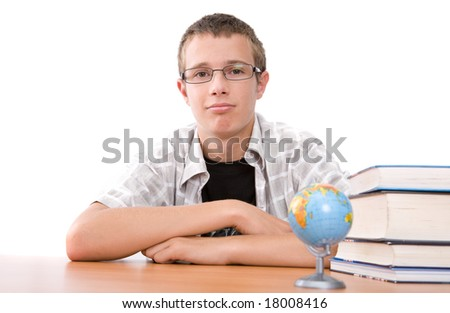 casual happy teenager over white background - stock photo