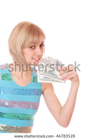 casual happy woman with lots of money on her hands