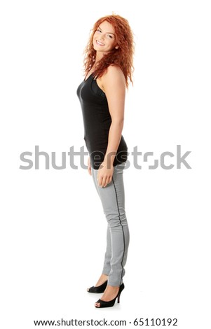 Casual happy young caucasian woman portrait isolated on white background - stock photo