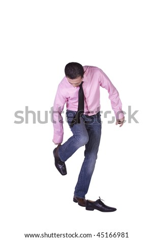 Casual Man Changing His Shoes Getting Ready - Isolated Background - stock photo