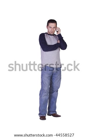 Casual Man Checking his voice mail on this smart phone - Isolated Background