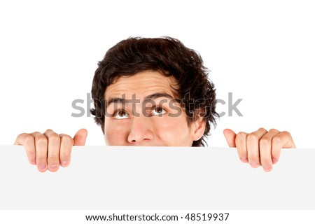 casual man displaying a banner ad isolated over a white background