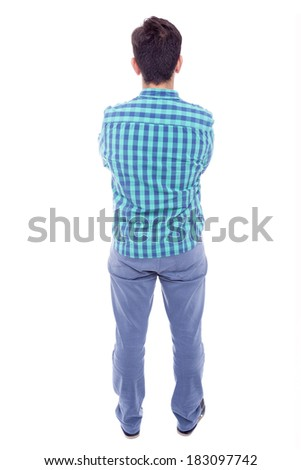 Casual man from the back, isolated on white background - stock photo