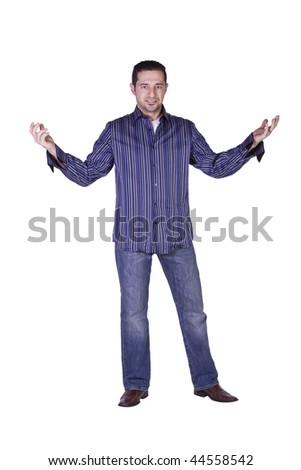 Casual Man Getting Ready Looking at the Camera - Isolated Background