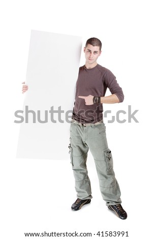 casual man holding an add isolated over a white background - stock photo