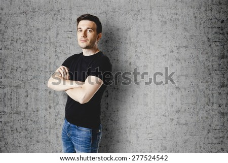 casual man in black t-shirt - stock photo