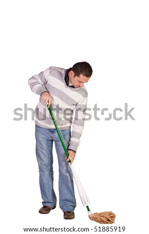 Casual Man in Jeans Cleaning the Floor with a Mop - Isolated Background