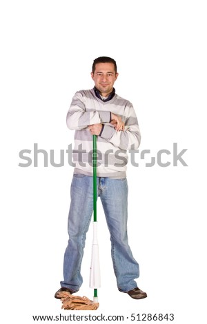 Casual Man in Jeans Posing with a Sweeper - Isolated Background