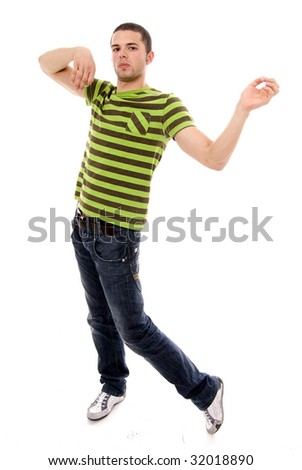 casual man jumping of joy, isolated over a white background - stock photo