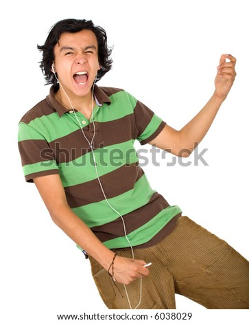 casual man listening to mp3 music isolated over a white background