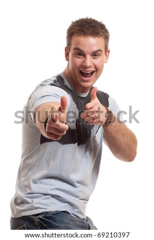 Casual Man on White - stock photo