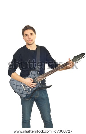 Casual man  playing guitar isolated on white background