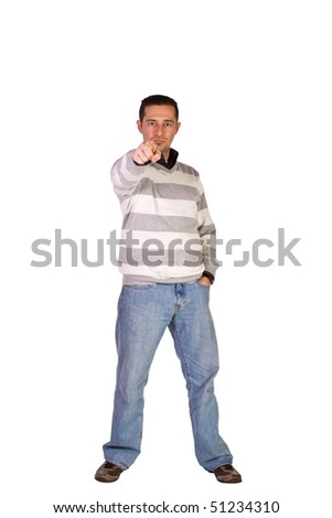 Casual Man Pointing at the Camera - Isolated Background