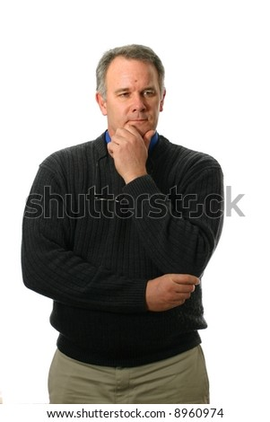 Casual man pondering a question - stock photo