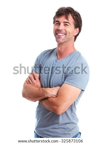 Casual man portrait. Isolated on white background. - stock photo