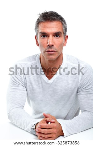 Casual man portrait. Isolated on white background.
