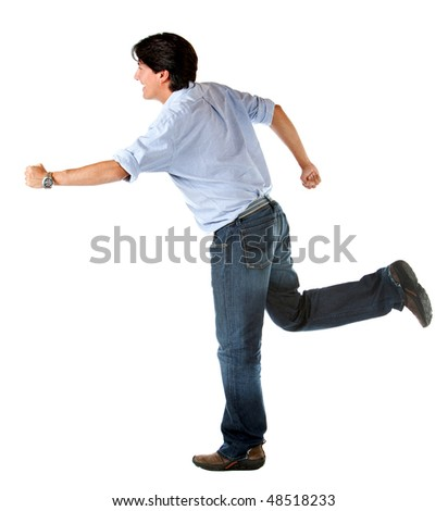 casual man smiling and running isolated over a white background
