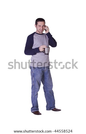 Casual Man Smoking and Drinking Coffee While Talking on the Phone - Isolated Background - stock photo
