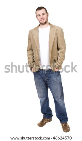 casual man standing on white background - stock photo