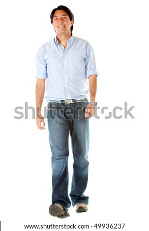 Casual man walking isolated over a white background - stock photo