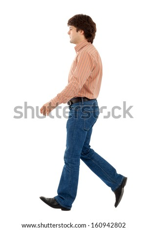 Casual man walking on white background