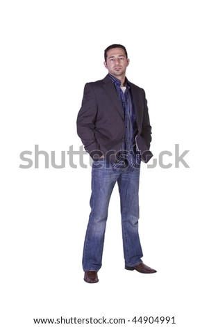 Casual Man with a Jacket Posing - Isolated Background - stock photo