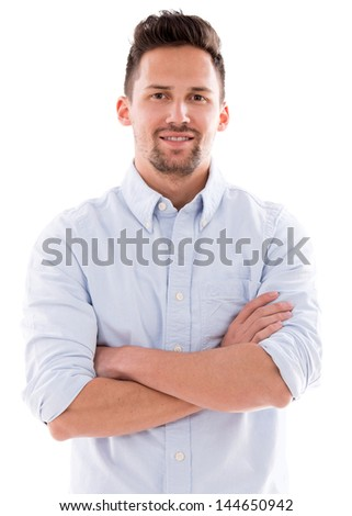 Casual man with arms crossed - isolated over a white background
