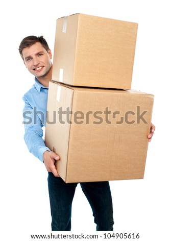 Casual man with boxes on the white background - stock photo