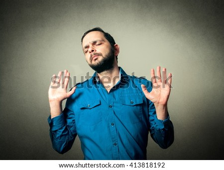 casual man with the beard and funny expression - stock photo