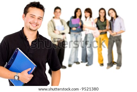 Casual mand with a group of college students smiling - isolated over a white background - stock photo