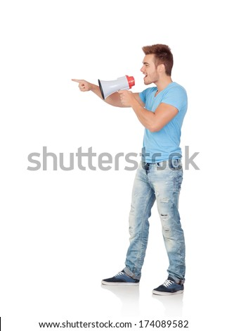 Casual men with a megaphone giving orders isolated on a white background - stock photo