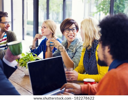 Casual People Meeting At Industrial Office - stock photo