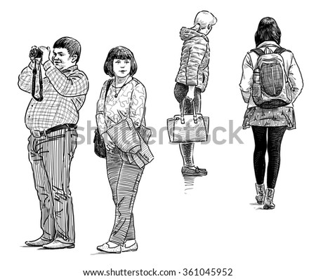 casual people on the city streets - stock photo