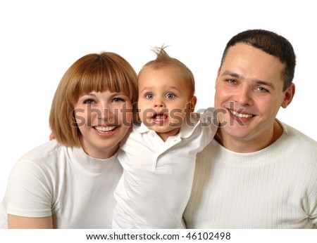 Casual portrait of a happy young family
