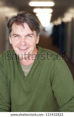 casual portrait of a mature, happy man
